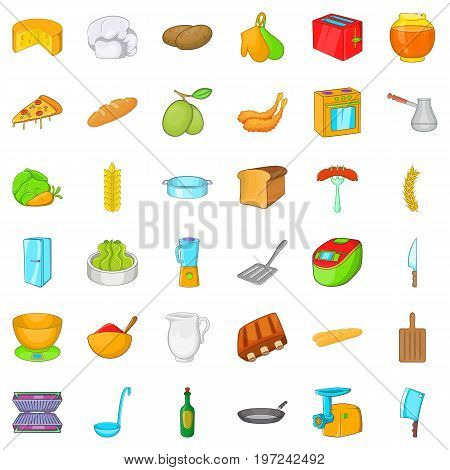 Chef icons set. Cartoon style of 36 chef vector icons for web isolated on white background
