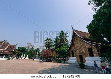 LUANG PRABANG LAOS - MARCH 11 2017: One of the temples of Wat Xieng Thong located in the city Luang Prabang capital of Laos.