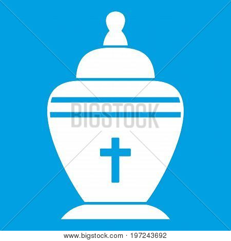 Urn icon white isolated on blue background vector illustration