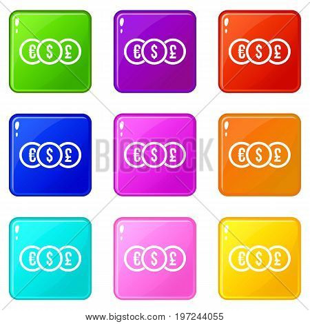 Euro, dollar, pound coin icons of 9 color set isolated vector illustration