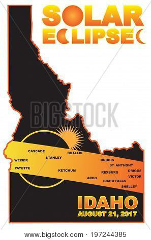 2017 Solar Eclipse Totality across Idaho State cities map color vector illustration