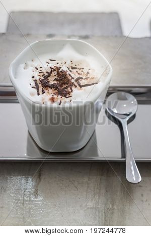 Hot cup of cocoa drink stock photo