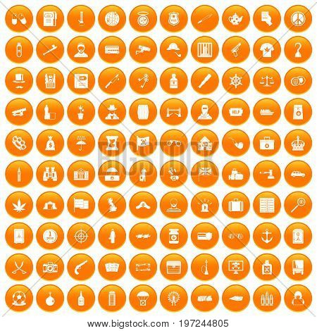 100 offence icons set in orange circle isolated on white vector illustration