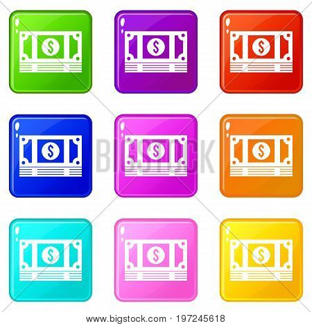 Stack of money icons of 9 color set isolated vector illustration