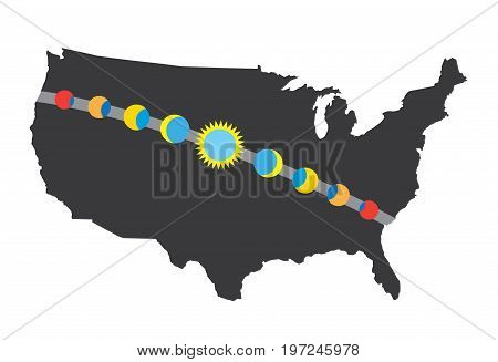 Total Solar Eclipse Icon August 21, 2017 - Route Map