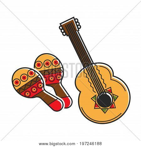 Traditional Mexican instruments with ethnic pattern isolated vector illustrations on white background. Cuatro of plucked type from family of guitars and oldest shock-and-noise instrument, maracas.
