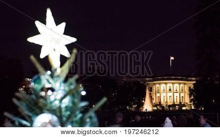 Washington Dc, Usa - December 29, 2016: National Mall Christmas Tree During Sunset Illuminated With