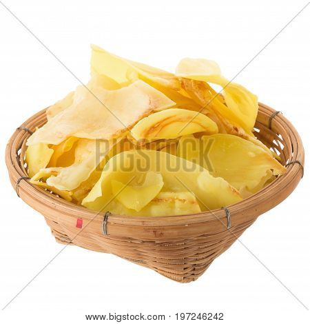 Durian Chips Fried Snack Fruit In The Basket, Durian Crispy Fruit Chips Isolated On White Background