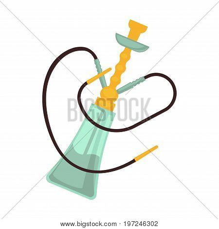 Hookah with two pipes and golden bowl isolated vector illustration on white background. Smoking device that allows to filter and cool the inhaled smoke. Vessel inserted with cup connected to tube.