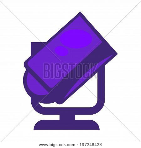 Vector illustration of vogue purple colored searchlight isolated on white.