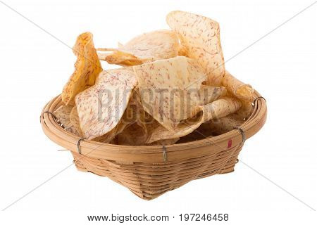 Fried Taro Slices Dip Into The Caramel In The Basket Isolated On White Background