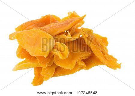 Ripe Yellow Dried Mango Fruit Slices Isolated On White Background