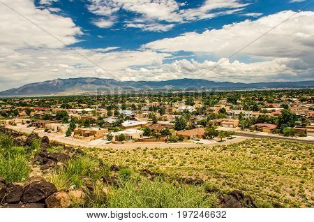Albuquerque, Usa - July 29, 2015: Skyline Or Cityscape Of City With Residential Suburban Houses Near