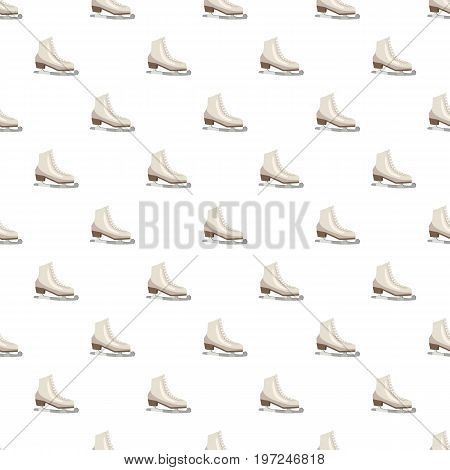 White figure skates pattern seamless repeat in cartoon style vector illustration