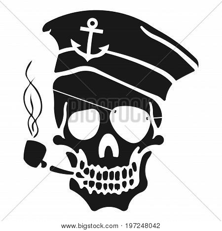 Captain Skull in a hat and a tobacco pipe. The picture on shirt