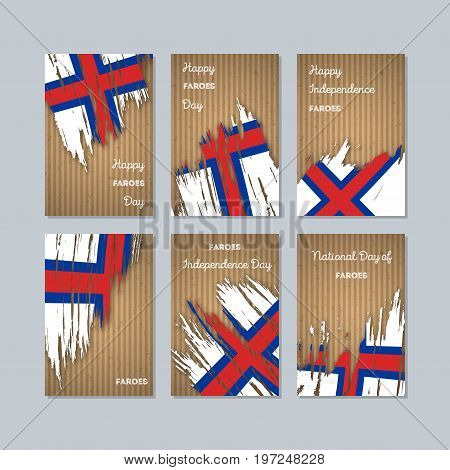 Faroes Patriotic Cards For National Day. Expressive Brush Stroke In National Flag Colors On Kraft Pa