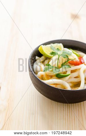 Hot And Spicy Udon Noodle On Wooden Background
