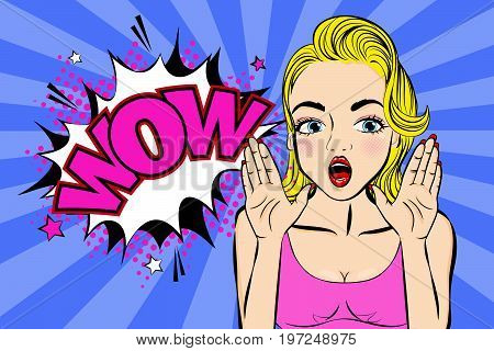 pop of cartoon woman feel excited with speech bubble