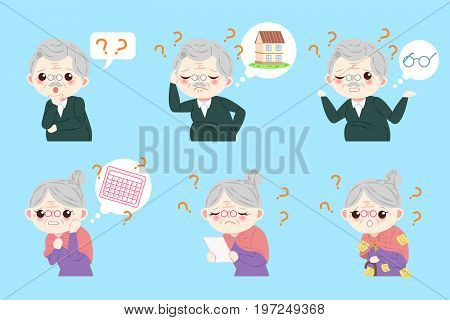 couple with Alzheimer disease on the blue background