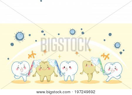 cartoon tooth holding a toothbrush and smile happily