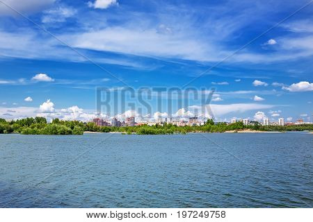 Novosibirsk Siberia Russia - July 17 2017: a view of the river Ob and the Novosibirsk side Bugrinskij beach