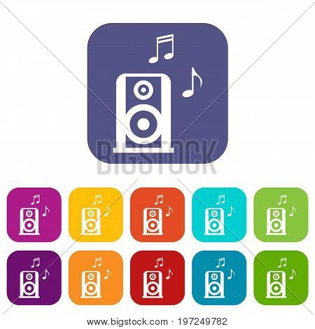 Portable music speacker icons set vector illustration in flat style in colors red, blue, green, and other