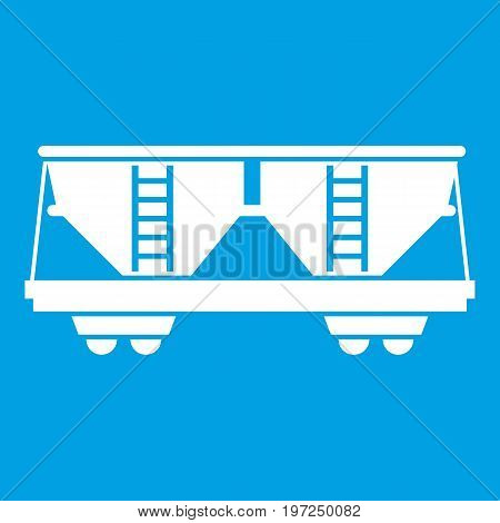 Freight railroad car icon white isolated on blue background vector illustration