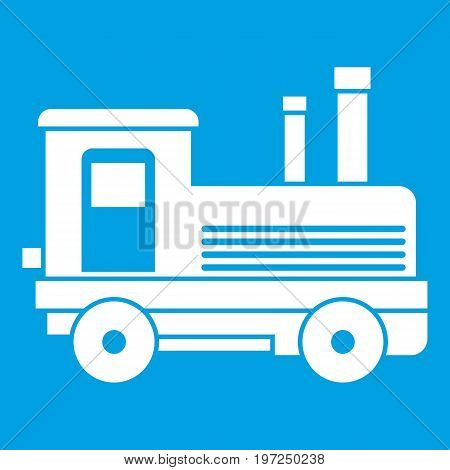 Locomotive icon white isolated on blue background vector illustration