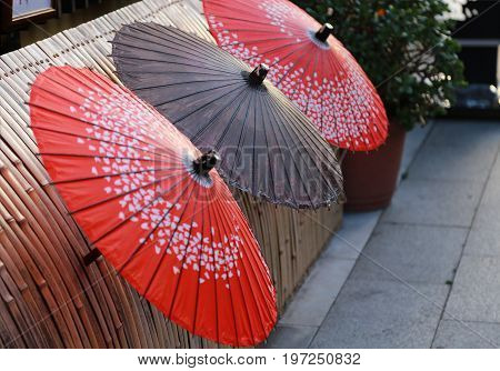 A Japanese umbrella view decorated on the street