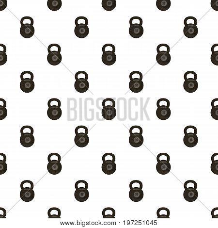 Black kettlebell pattern seamless repeat in cartoon style vector illustration