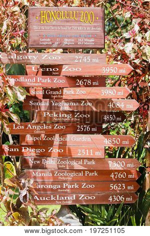 Honolulu Hawaii - May 26 2016: A sign post at Honolulu Zoo giving distances in miles to other international zoos.