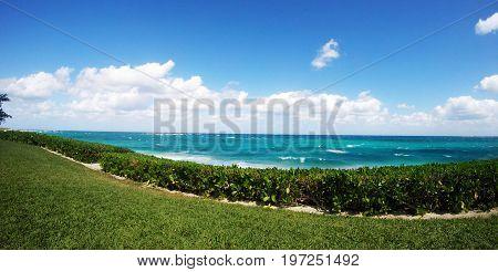 FishEye Photo: Tropical beach during a sunny day in Nassau, Bahamas.