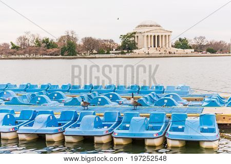 Washington Dc, Usa - March 17, 2017: Thomas Jefferson Memorial By Tidal Basin With Pedal Boats And G