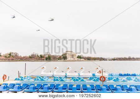 Washington Dc, Usa - March 17, 2017: Thomas Jefferson Memorial By Tidal Basin With Pedal Boats And P