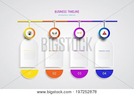 Vector infographic template with number 4 step integrated circles. Business concept with options. For content diagram flowchart steps parts timeline infographics workflow layout chartVector illustration