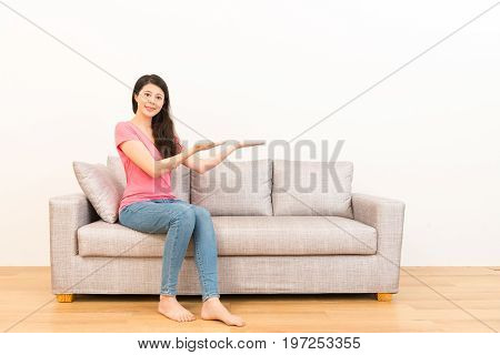 Asian Woman Showing Gestures For Advertising