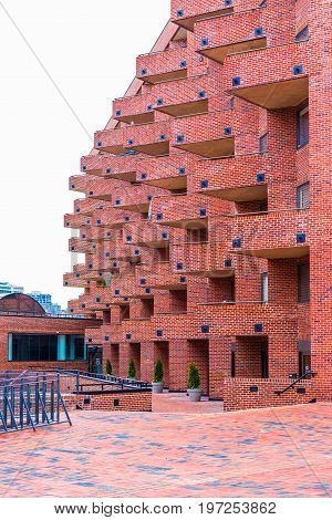 Washington Dc, Usa - March 20, 2017: Flour Mill Condominium Unique Brick Architecture In Georgetown