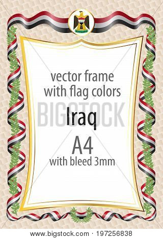 Frame And Border  With The Coat Of Arms And Ribbon With The Colors Of The Iraq Flag