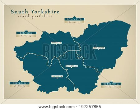 Modern Map - South Yorkshire Metropolitan County With District Labels Uk Illustration