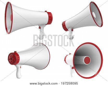 3d rendering white megaphone isolated on white