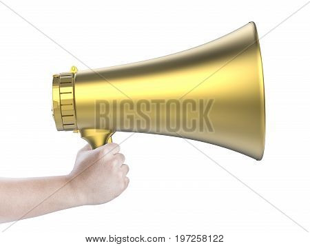 hand holding 3d rendering gold megaphone isolated on white