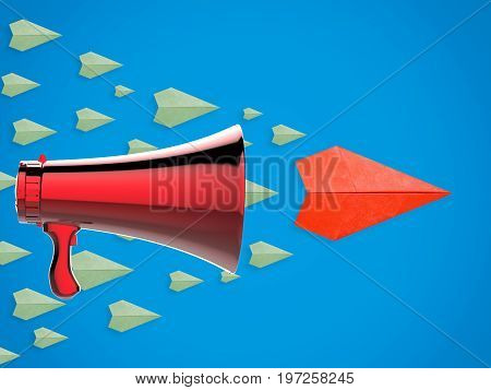 Leadership Concept With Paper Plane And Megaphone