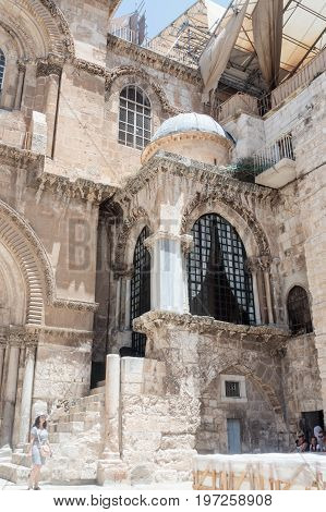 Jerusalem Israel July 14 2017 : Corner chapel of the Church of the Holy Sepulchre in the old city of Jerusalem Israel.
