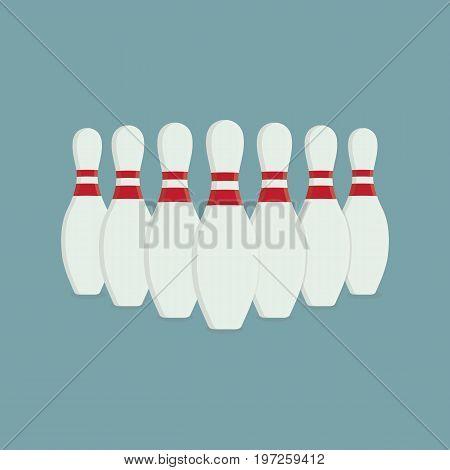 Bowling Pin Illustration, Flat Design of Bowling Game