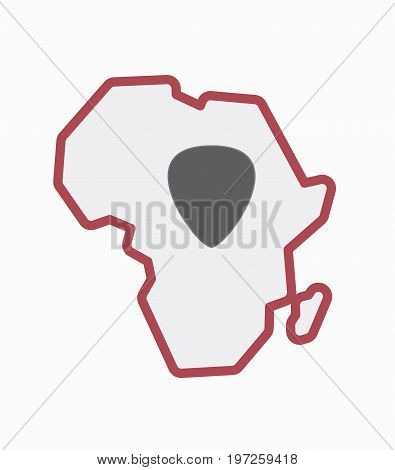 Isolated Africa Map With A Plectrum