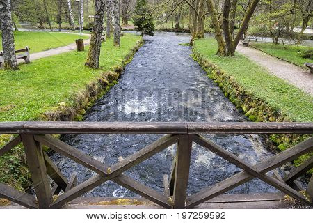 Beginning River Bosna At Nature Park Vrelo Bosne