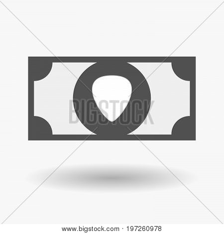 Isolated Bank Note With A Plectrum