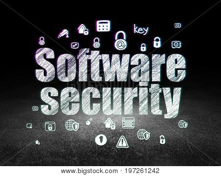 Security concept: Glowing text Software Security,  Hand Drawn Security Icons in grunge dark room with Dirty Floor, black background