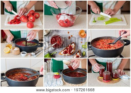 A Step By Step Collage Of Making Tomato Jam