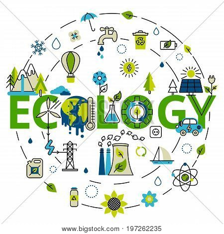 Green energy, ecology problem and alternative fuel. For info graphics and graphic design. Colorful vector illustration in modern flat line style, ecology concept horizontal web banner.